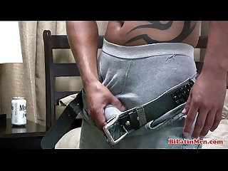 Straight latin papi with a nice thick uncut cock jerks off and shoots a warm