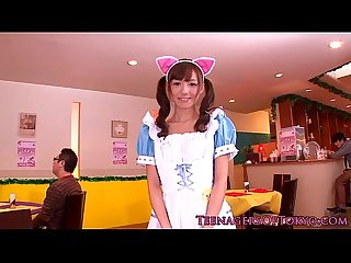 Japanese teenage bukkake beauty as a waitress