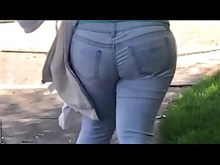 StreetCandids: Big Butt Latina in tight jeans walking down the street.