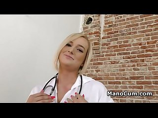 Sexy nurse jerks cock to collect semen sample