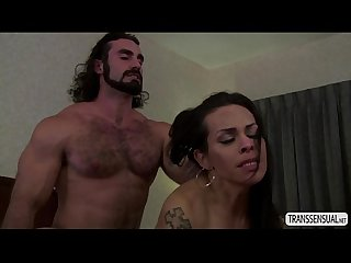 Latina TS Foxxy cherishes hunk stud with enormous huge dick
