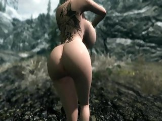 Big tits tattoo babe fucking around in Skyrim pornhubcom