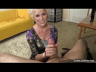 Milf With Fake Tits Stroking His Cock