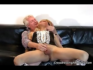 Blonde sissy has fun with a Grandpa
