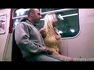 Public subway train sex with big tits star Stella Fox threesome with 2 guys