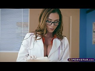 Milf doctor with huge boobs fucks with a confused patient