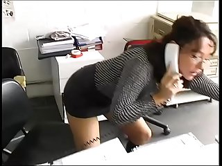 Sexy secretary in a warehouse brutally fucked by workers