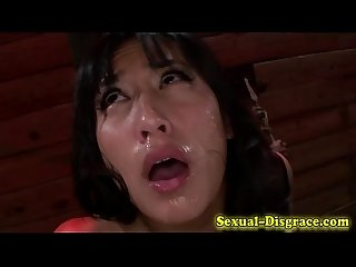 Throat fucked bound asian