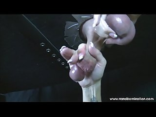 Gloryhole cock drips and insane amount of pre cum during femdom handjob