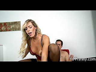 Busty tgirl in stockings asshole screwed by nasty dude