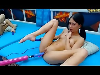 Latina playing with Sex Machine