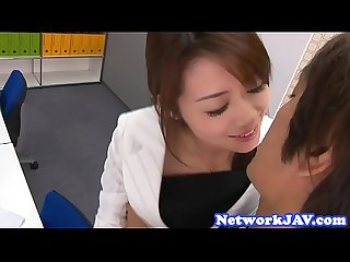 Japanese milf gets creampied in the office