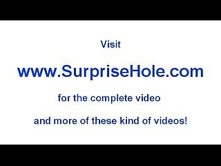 Boy sticks his dick through a sexy hole