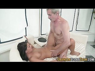 Slut rides geriatric cock