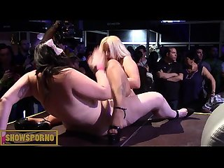Blonde bigtits and fatty brunette lesbian fuck