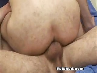 Gay partners hot anal fucking and sperm drips out from his ass