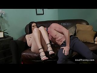 Therapist gets trannys big cock in the ass
