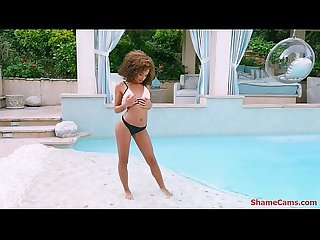 Cecilia Lion playing with her pussy by the pool - ShameCams.com