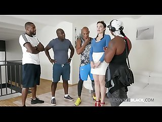 Brunette hannah vivienne gets 4 black cocks in all her holes