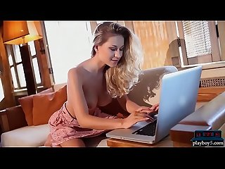 Huge natural tits blonde model candice brielle strips