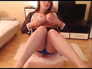 Sexy girl sucking and teasing big natural boobs live cam show