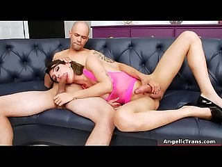 Busty TS and pervert man anal pounding bareback on sofa