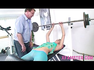 Slim tiny stepdaughter amateur bitch in gym fucked hard by old trainer stepdad