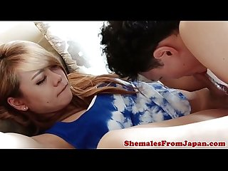Japanese tgirl beauty fucks lucky guy raw