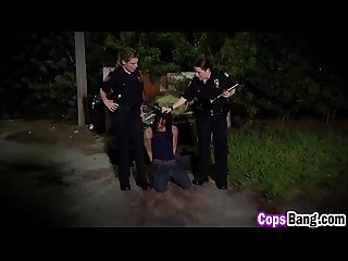 Two nasty and busty cop milfs pounded hard by black guy
