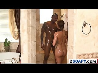 Tiny brunette masseuse takes shower with muscled black guy before they fuck