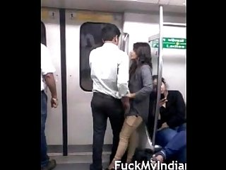 Desperate lovers in delhi metro kiss N boob press wid audio fuckmyindiangf period com