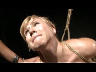 Lezdom action with a roped slave