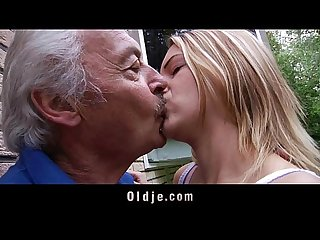 Young school girl deepthoat old cock sucking cum swallow for fat grandpa