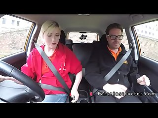 Hairy pussy blonde bangs her instructor in car