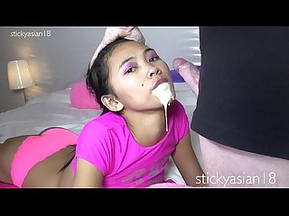Stickyasian18 cherry takes cock in her pretty mouth