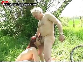 Horny old senior loves licking