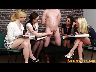 Cockhungry cfnm babes creamed by gagged guy