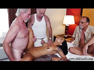 Teen old men staycation with a latin hottie
