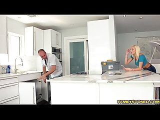 Kyle fuck Tiffany Watsons shaved pussy in the kitchen
