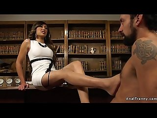 Boss tranny anal bangs guy on table