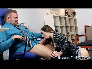 Teen stepdaughter office