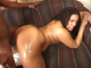 Oiled ass black slut Cheyanne Foxxx in sofa hard fucking black dong