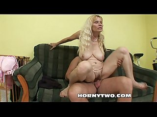 Hairy granny bitch with big tits fucked by younger lad for facial