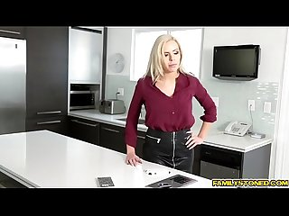 Milf Nina Elle deep throat blowjob her step son Cody