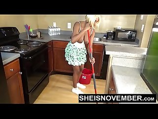Sheisnovember topless mopping in kitchen Upskirt ebony ass big natural tits