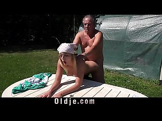 Horny blonde mistress fucks old gardener for blowjob cumshot in her mouth
