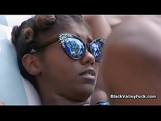 Nubian princess blows big white dick by pool