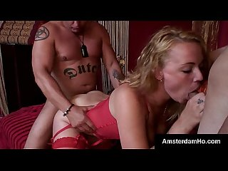 Big tit blonde amsterdam whore has a hot threesome with foreign hunks