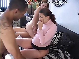 Redhead teen and pregnant Arab whore in gang bang