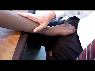Mom in black pantyhose gives footjob to school principal in his office more footjobs on sweetnylonfe